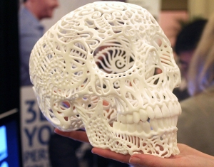 A 3D printed decorative skull